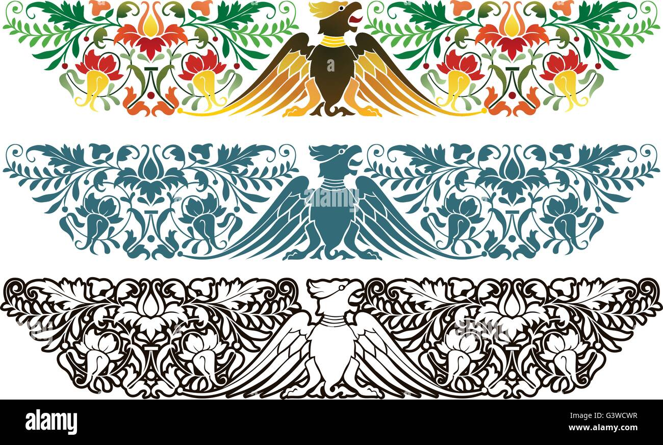 Northern European style ornament, circa 16th century - Stock Image