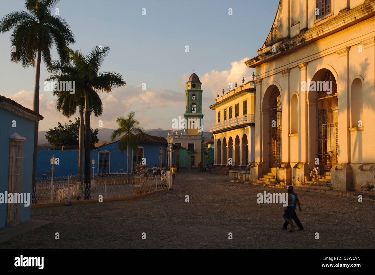Plaza Mayor with portal of Iglesia Parroquial de la Santisima Trinidad and bell tower of San Francisco convent, - Stock Image