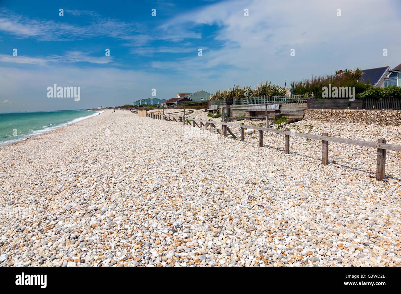 Shingle beach at Bracklesham Bay on the Manhood Peninsula in West Sussex, England UK Europe - Stock Image