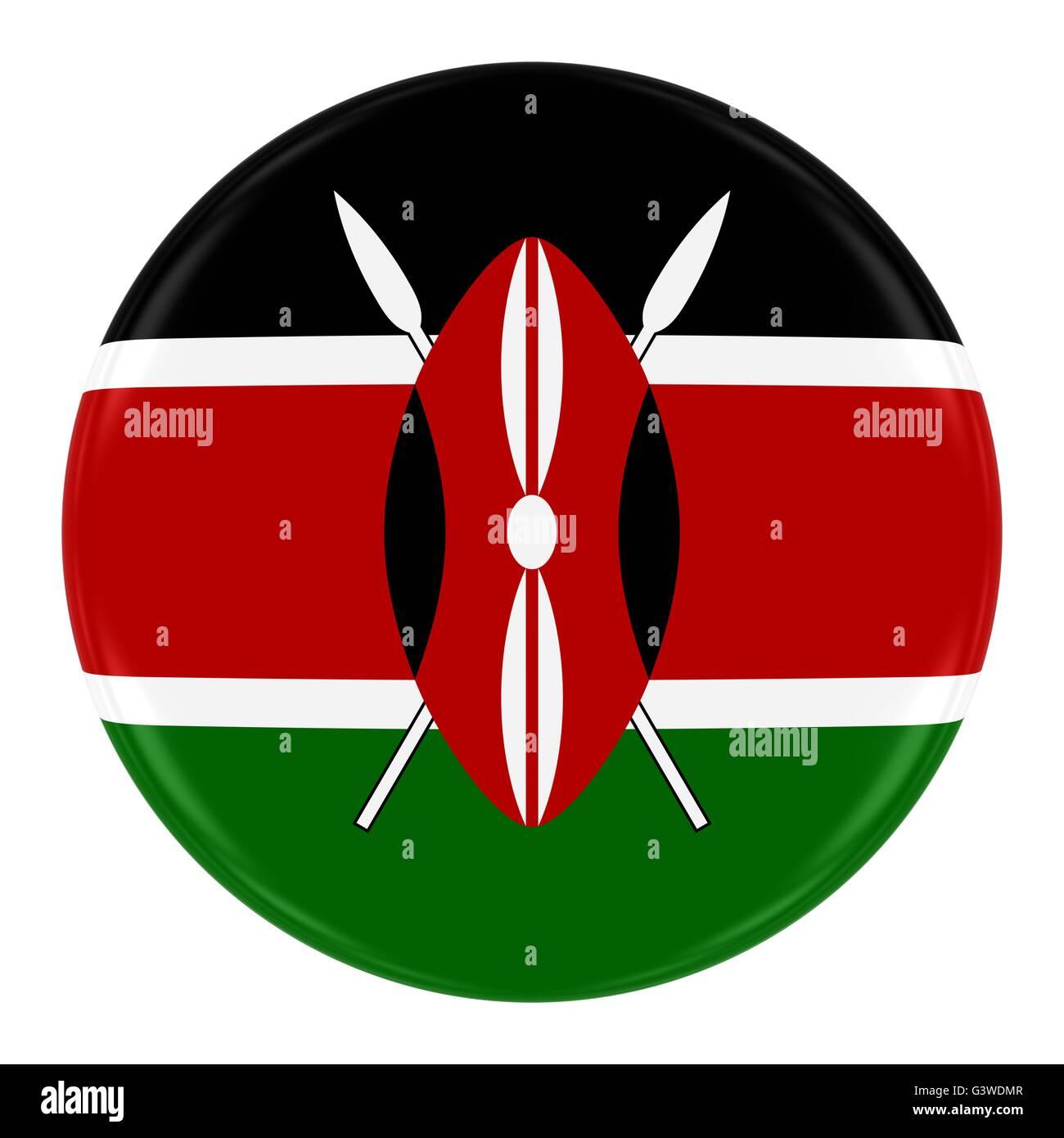 Kenyan Flag Badge - Flag of Kenya Button Isolated on White Stock Photo