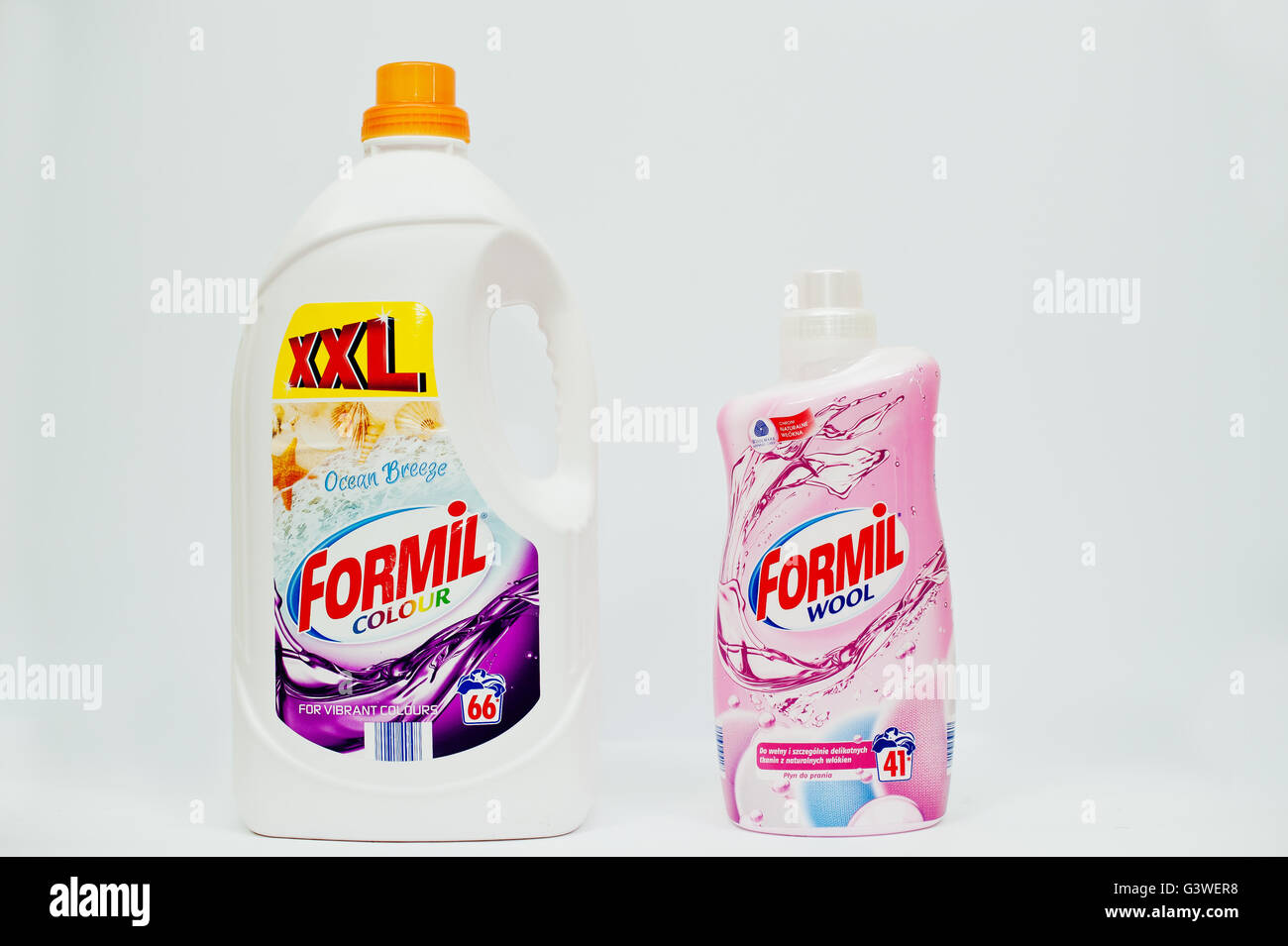 Berezovitsa, Ukraine - circa june, 2016: Fabric softener, laundry detergent or fabric conditioner Formil colour Stock Photo