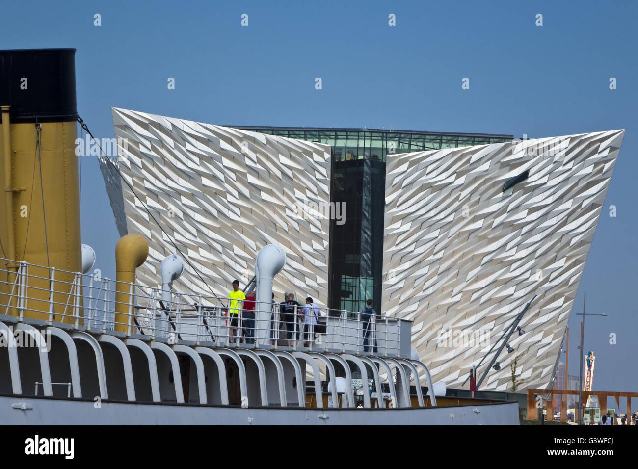 titanic museum titanic quarter Belfast - Stock Image