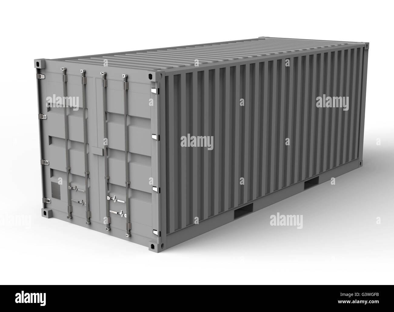 grey container isolated on a white back ground. - Stock Image