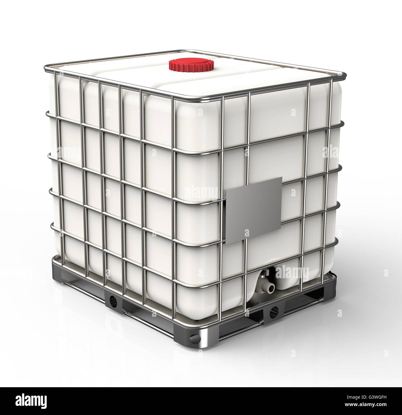 Bulk liquid container isolated on a white background - Stock Image
