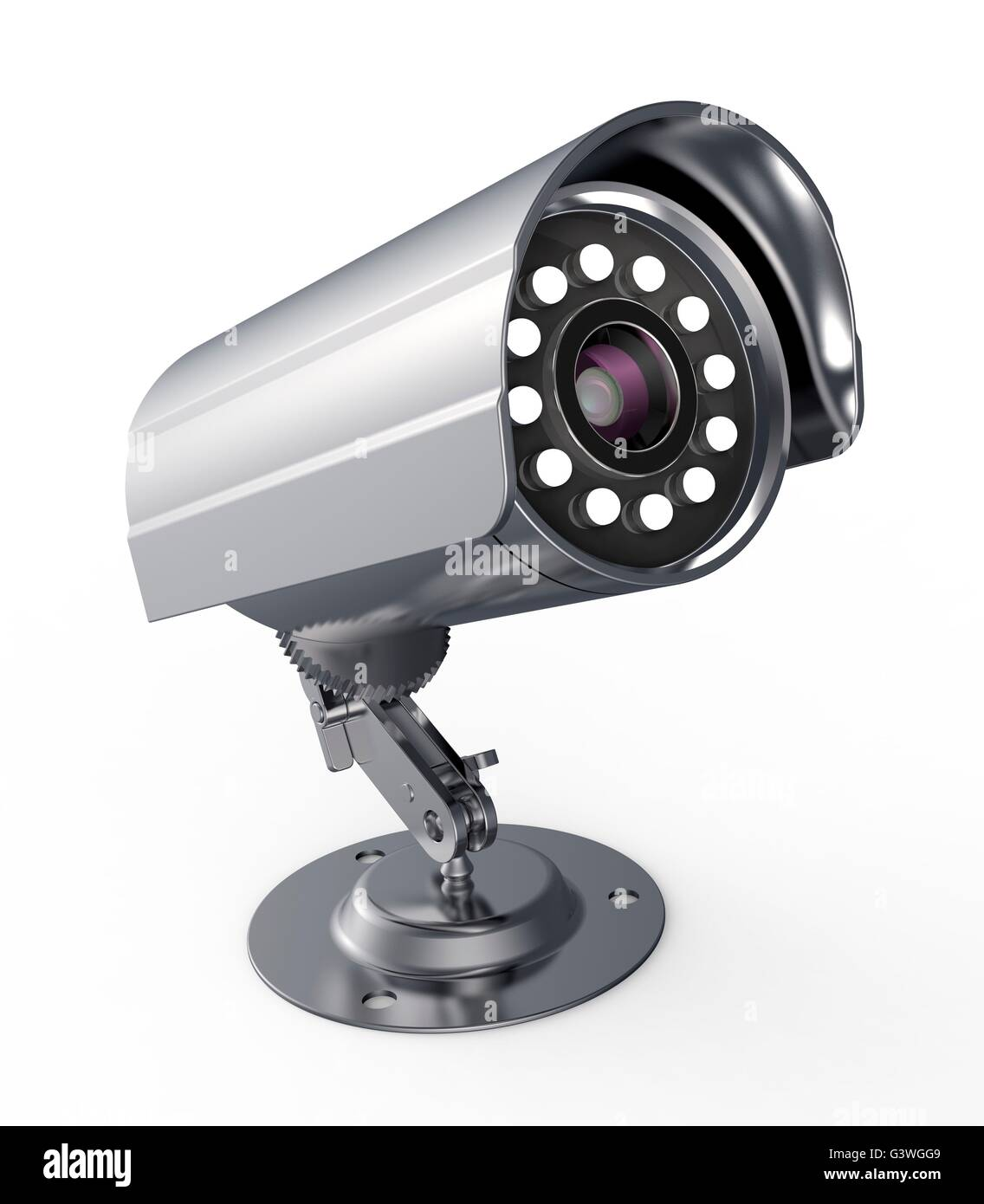 surveillance camera isolated on a white back ground. Stock Photo