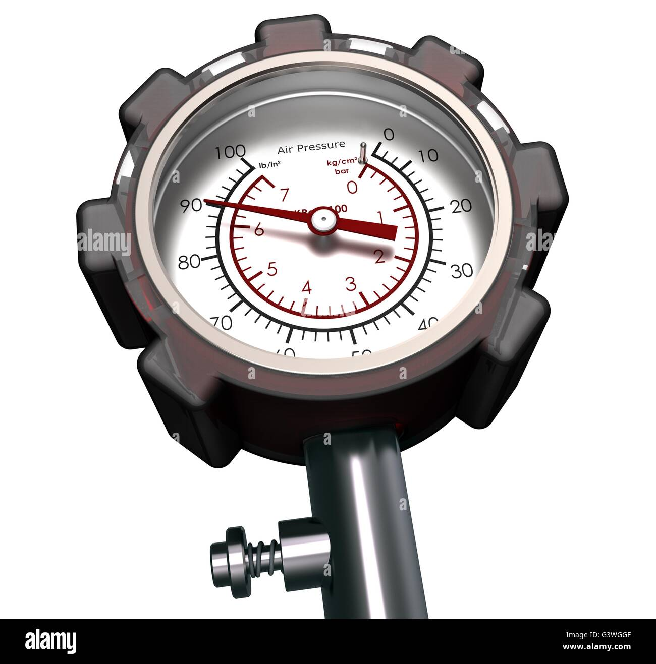 Pressure Gauge isolated On a White background. - Stock Image