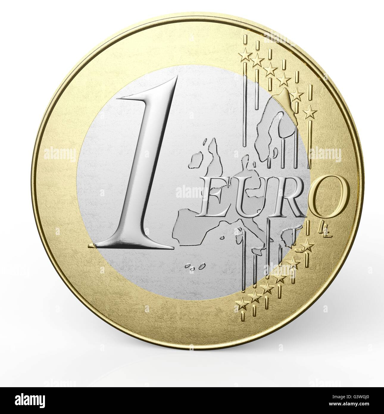 one euro coin isolated on a white background. Stock Photo