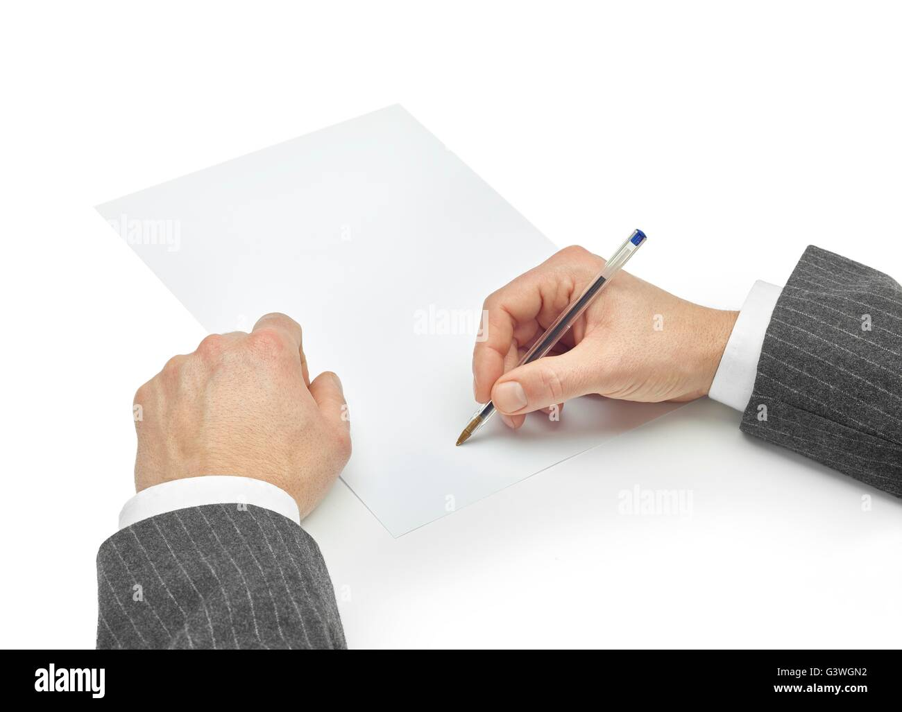 signing a contract with clipping path isolated on white background - Stock Image