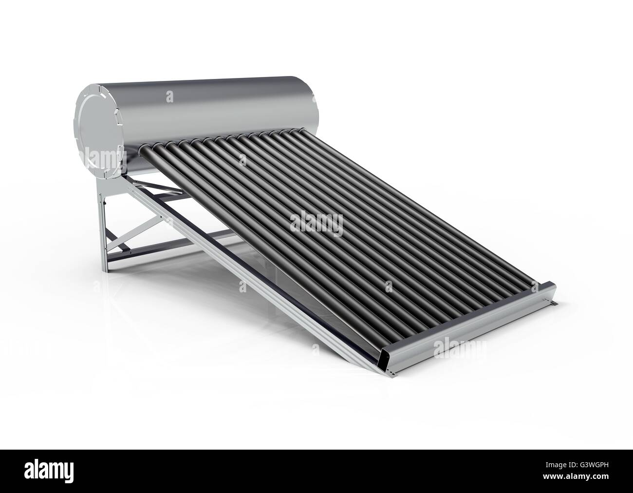 Solar water heater isolated on white back ground - Stock Image