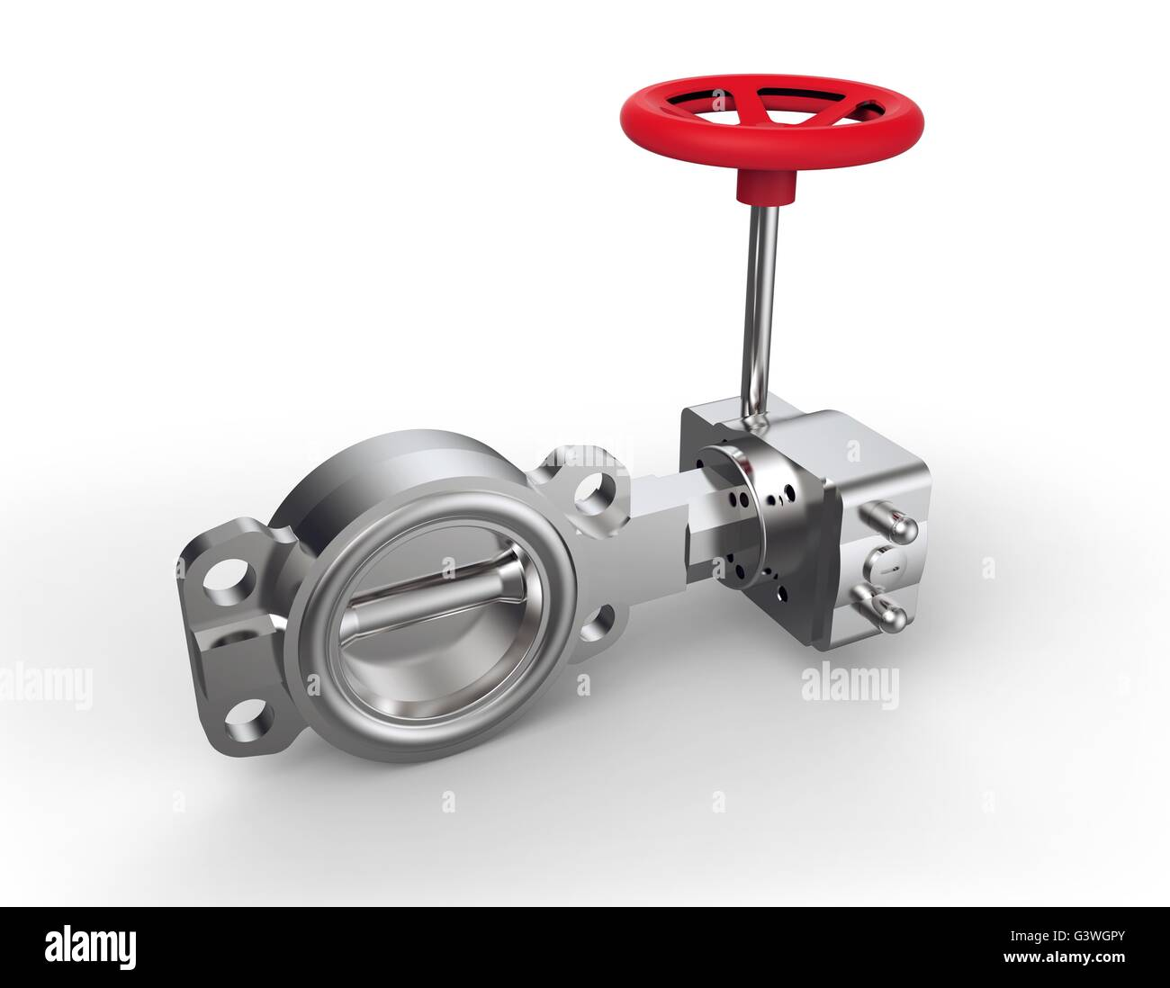 Red valve isolated on a white back ground. - Stock Image