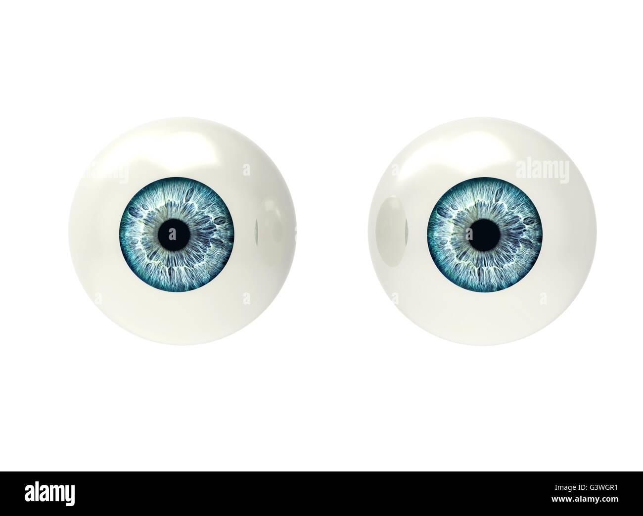 two eyeballs isolated on white back ground - Stock Image