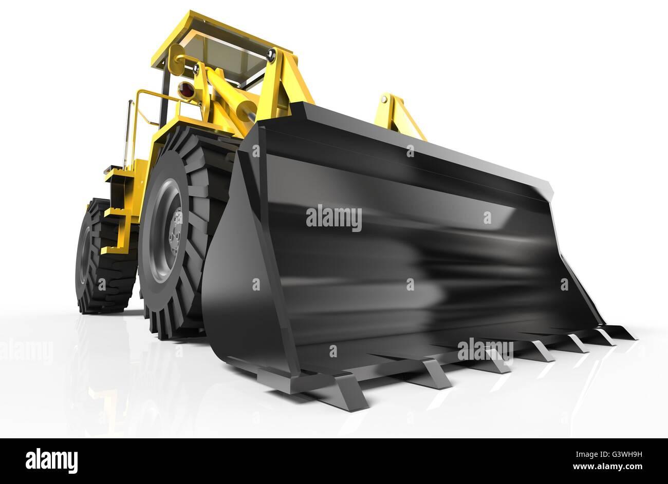 bulldozer isolated on white - Stock Image