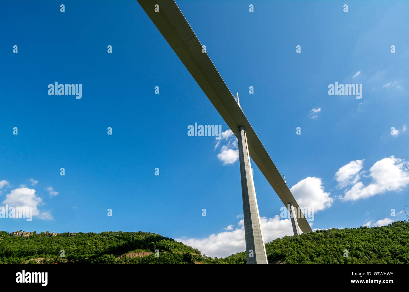 Millau Viaduct, Natural Regional Park of Grands Causses, Aveyron, Languedoc-Roussillon-Midi-Pyrénées, - Stock Image