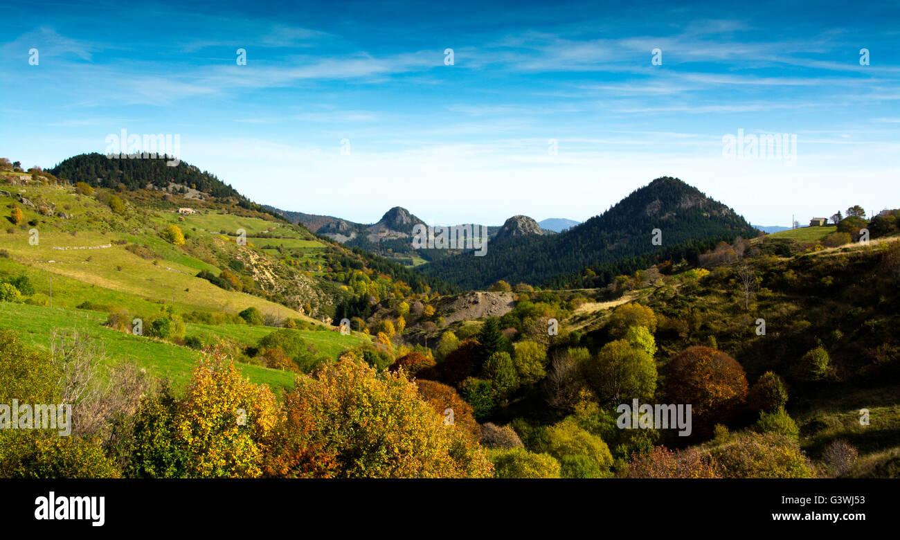 Suc de Touron, Gouleyou, Roches des Borées, Massif of Mezenc, Ardeche, France Stock Photo