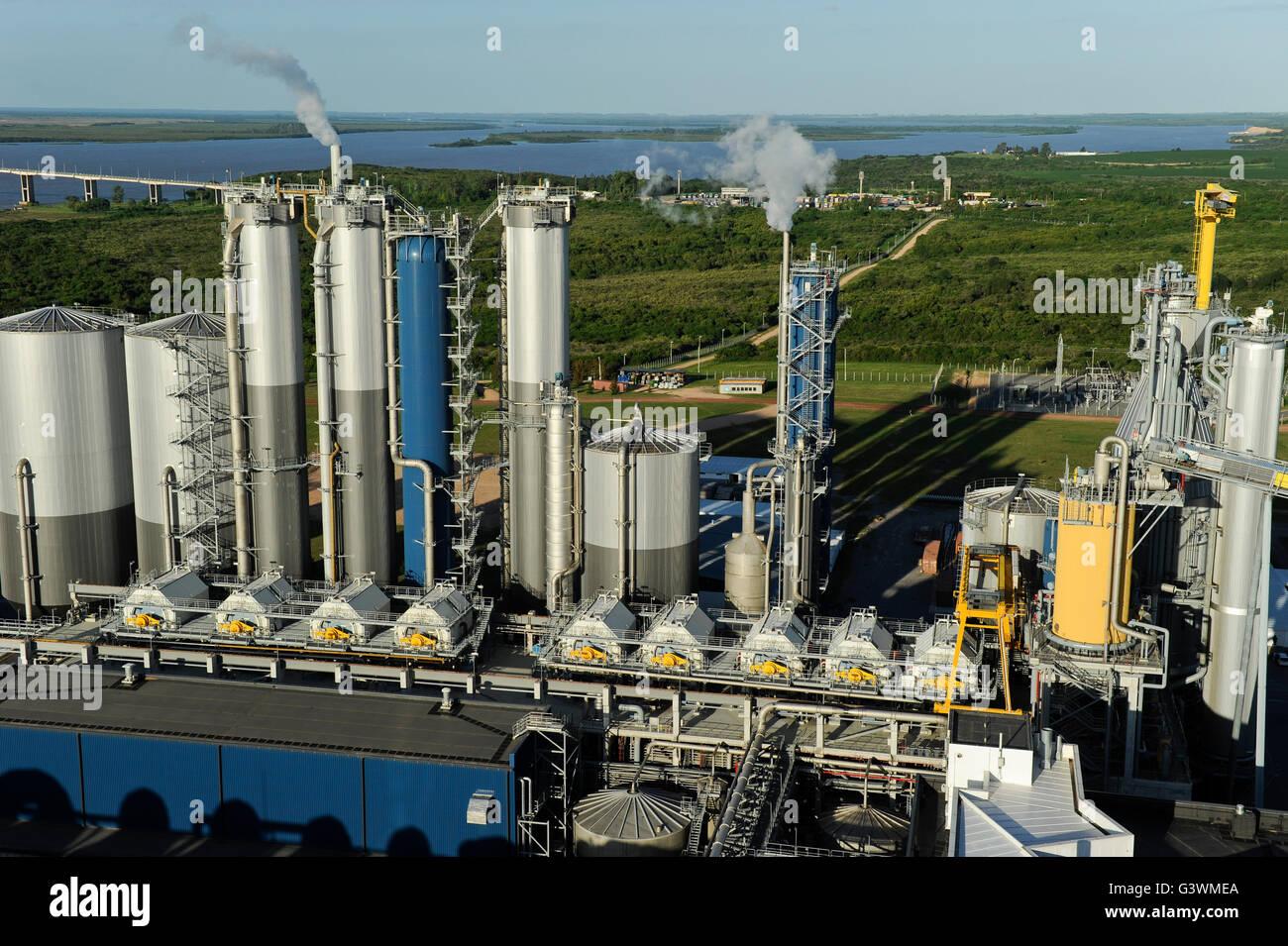 URUGUAY Fray Bentos ,  UPM pulp mill produce ECF (elemental chlorine free) pulp from FSC eucalyptus wood, Capacity, - Stock Image