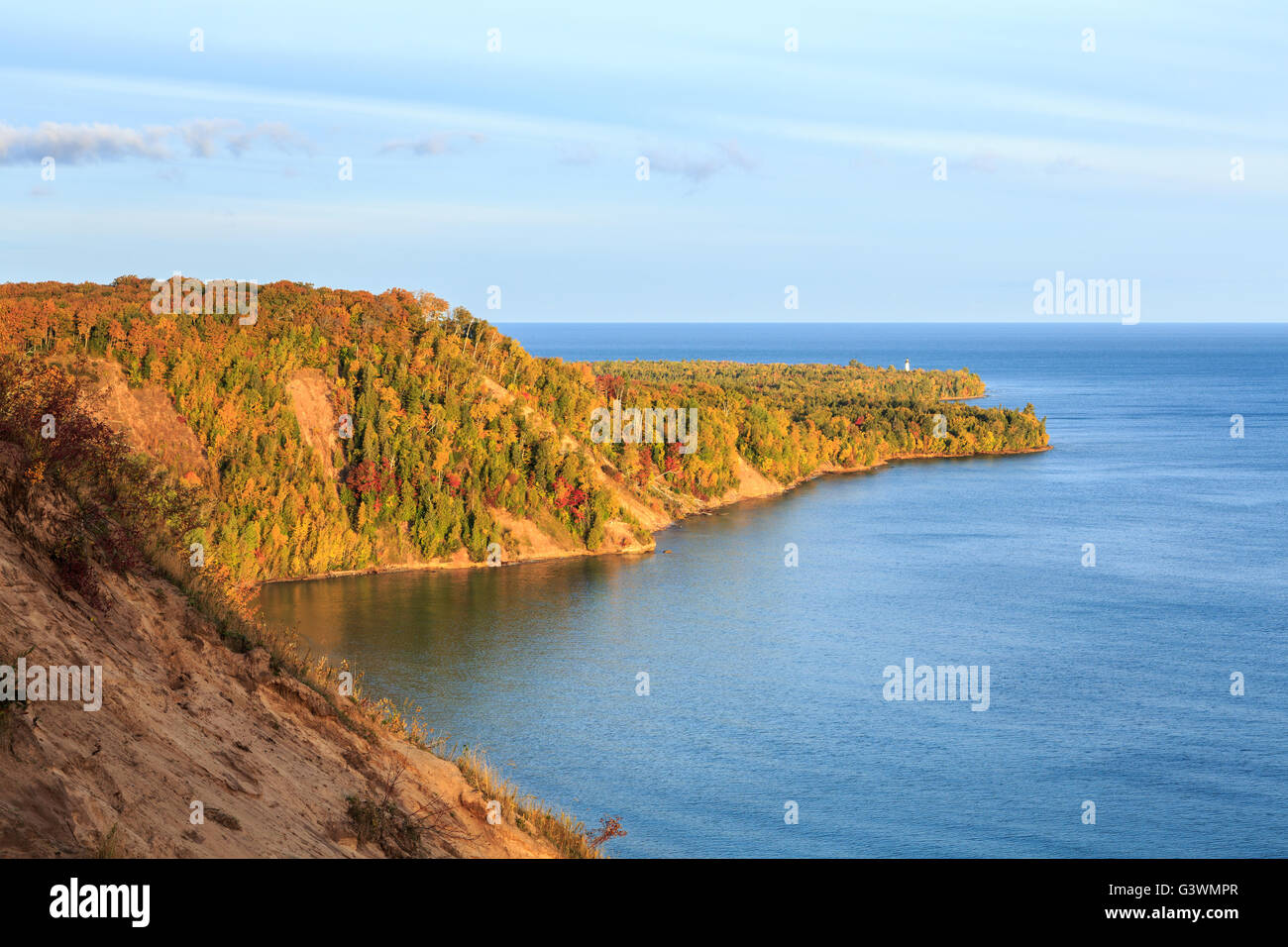 Au Sable Point on Lake Superior. Au Sable Lighthouse in the distance in the Upper Peninsula of Michigan Stock Photo