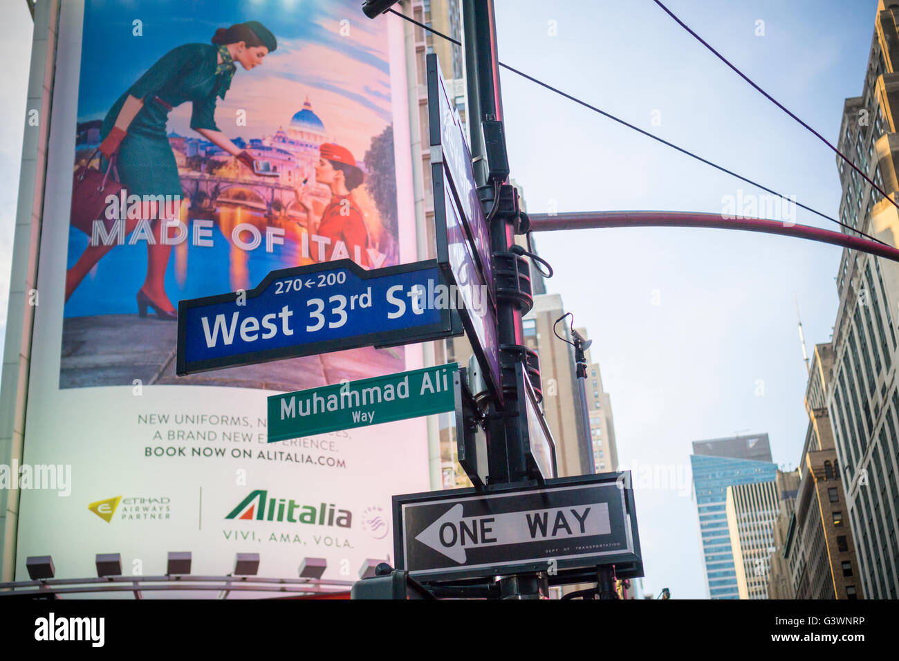 New York commemorates the late boxing legend Muhammad Ali by temporarily renaming West 33rd Street next to Madison - Stock Image