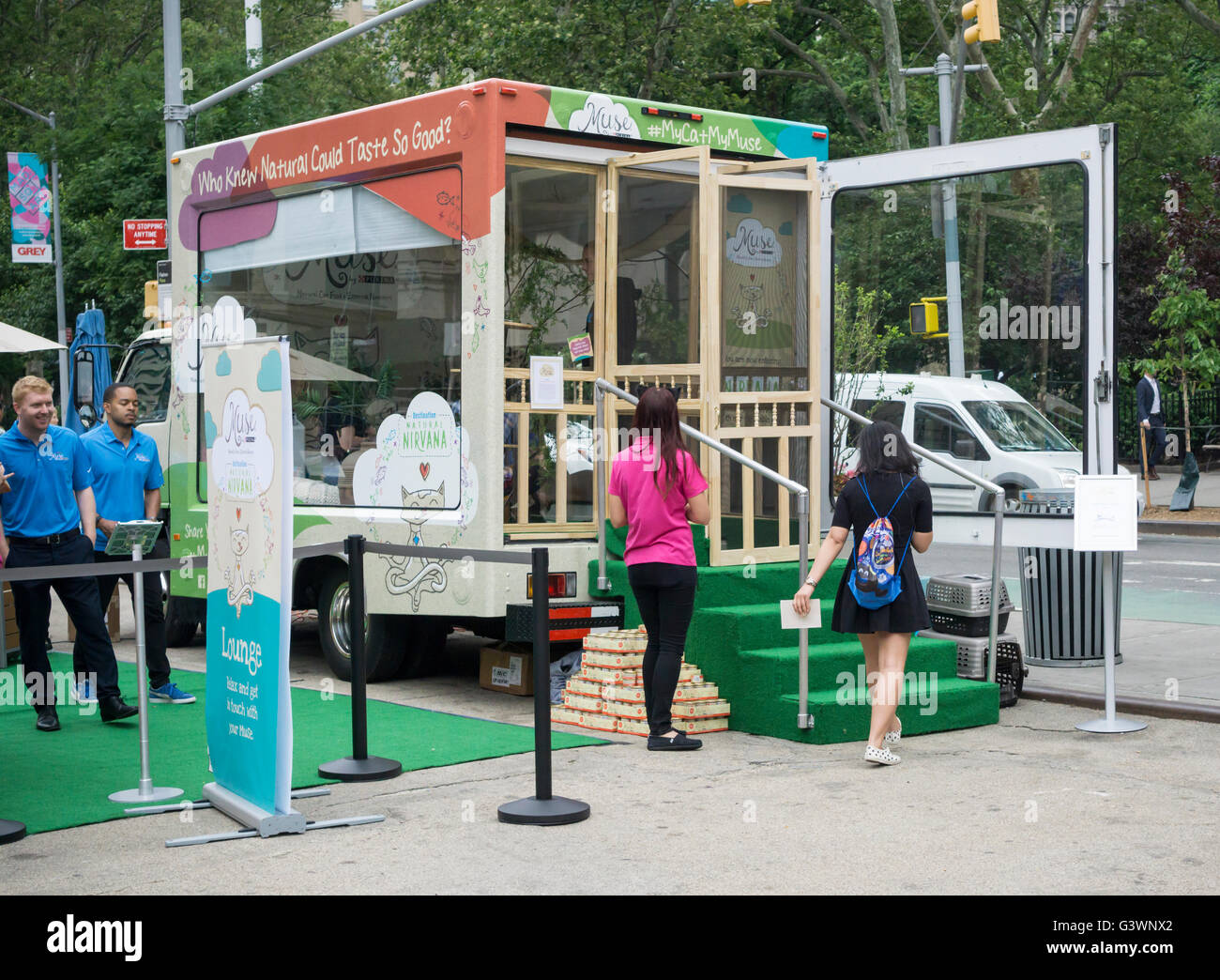 Branding event for Purina Muse cat food in Flatiron Plaza in New York on Wednesday, June 8, 2016. Purina offered - Stock Image