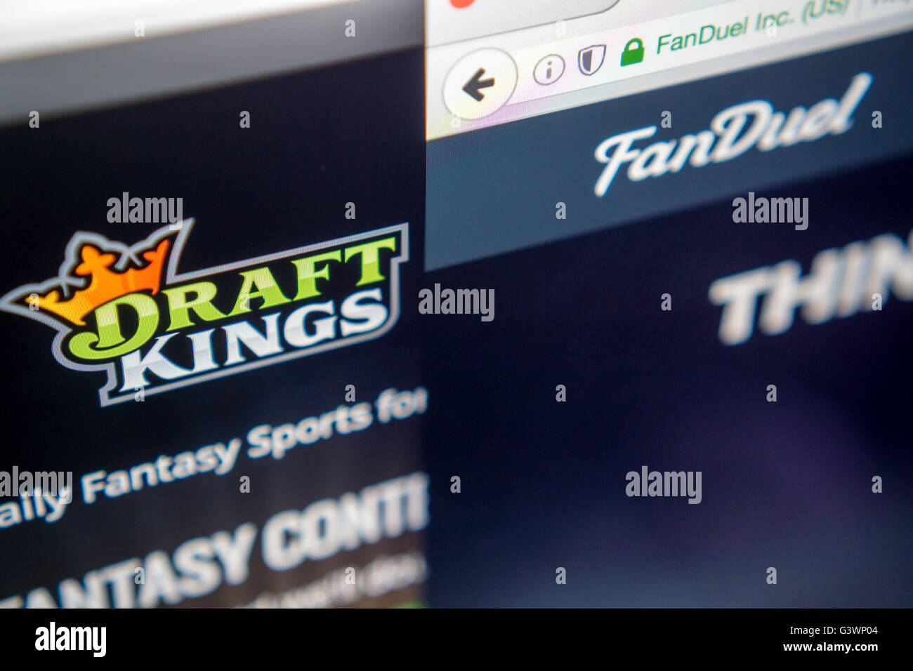 The websites of the fantasy sports sites DraftKings and FanDuel are seen on a computer screen on Tuesday, June 14, - Stock Image