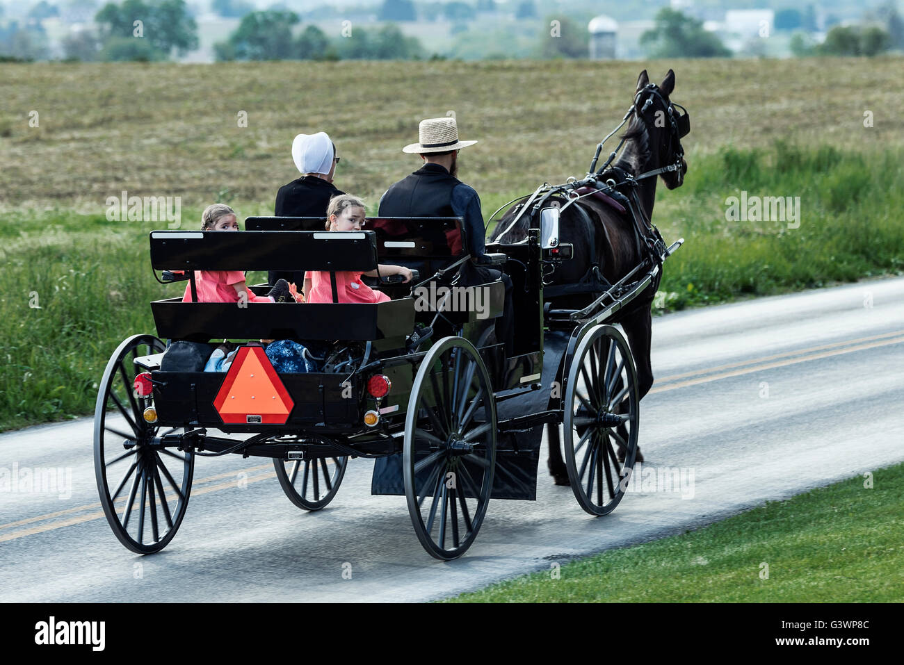 Amish family in horse drawn buggy, Ronks, Lancaster County, Pennsylvania, USA Stock Photo