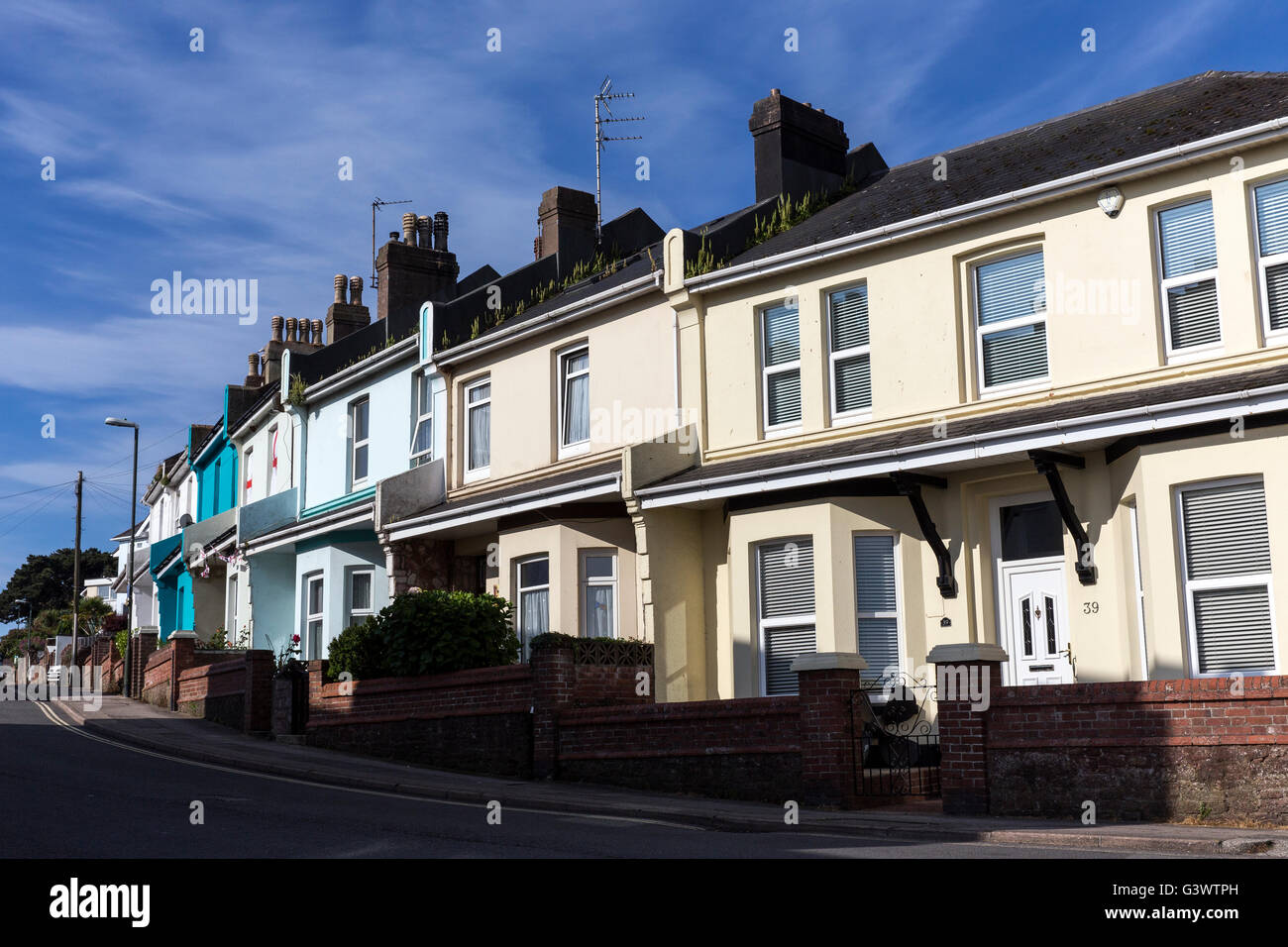 terraced homes in England,house prices,Average house prices ,drop in UK house prices ,The Help to Buy Individual - Stock Image