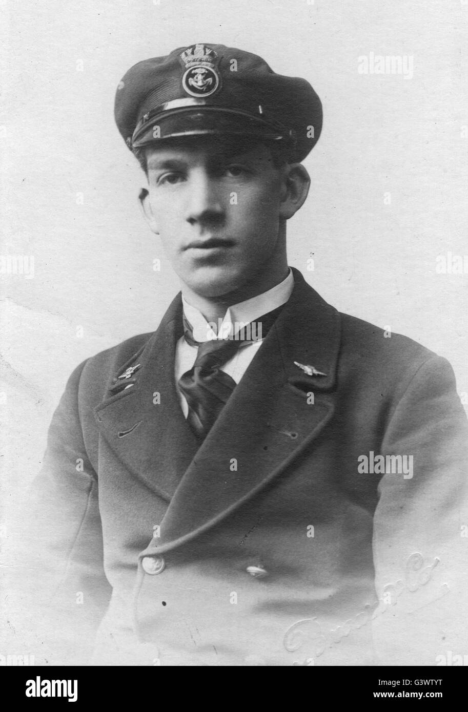 Royal Navy airman in uniform  WW1 - Stock Image