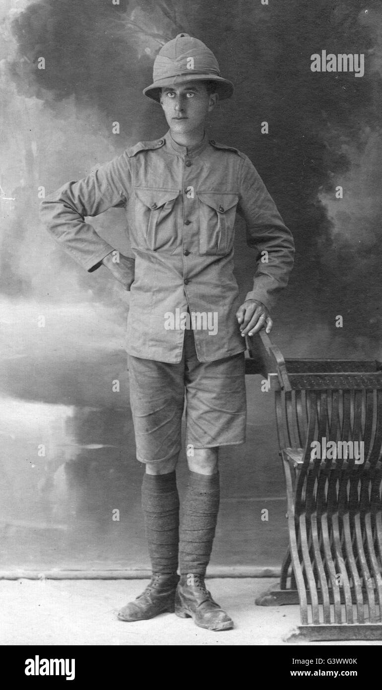 Royal Navy RNAS airman in tropical clothing WW1 - Stock Image