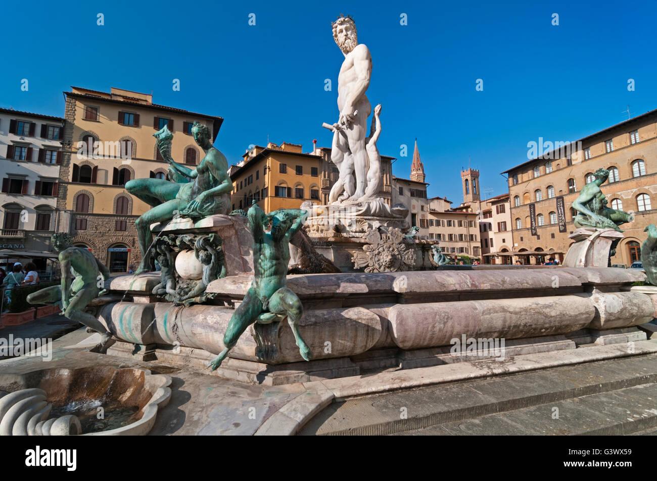 Neptune Fountain Florence Tuscany Italy - Stock Image