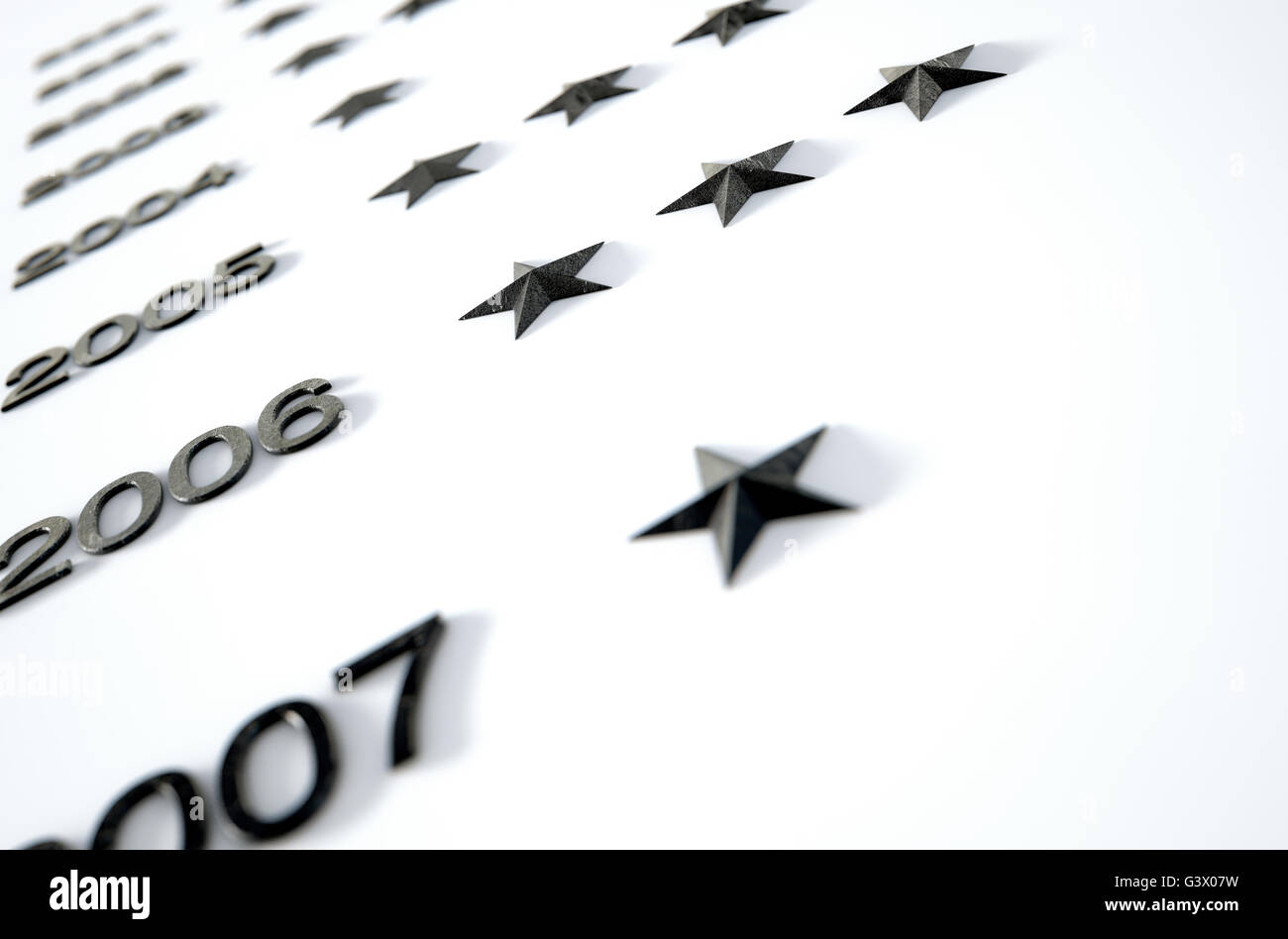 A 3D render of a closeup of an honorary board that displays stars to represent anonymous achievements by unidentified - Stock Image