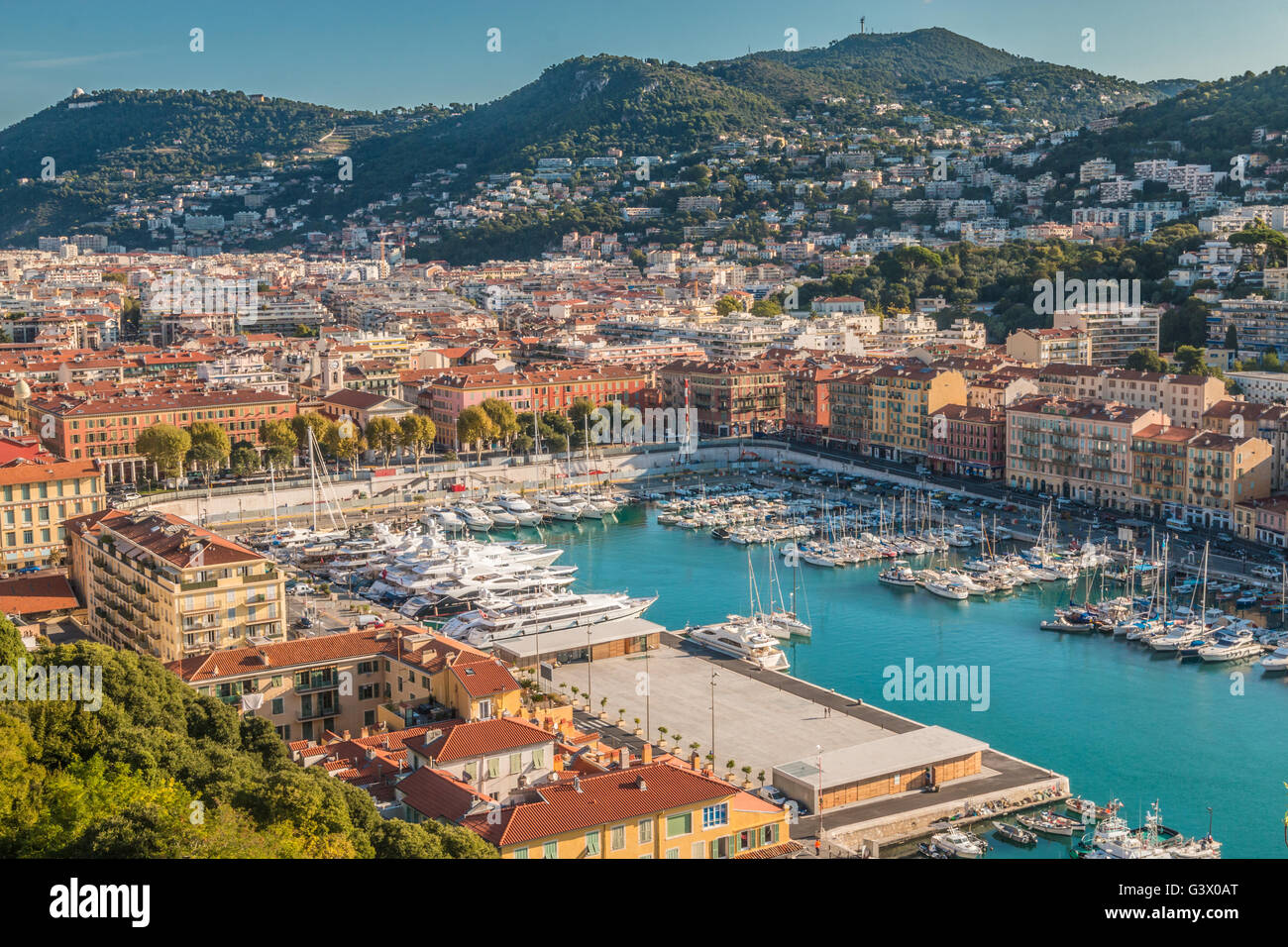 View of port of Nice in Southern France - Stock Image
