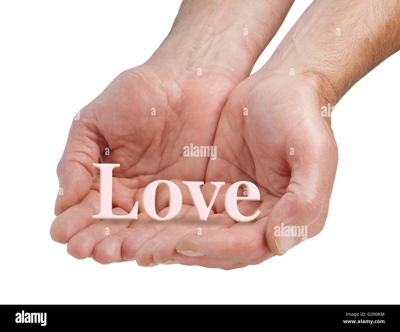 Offering pure love - male cupped hands offering the word LOVE floating just above his fingers, isolated on a white - Stock Image