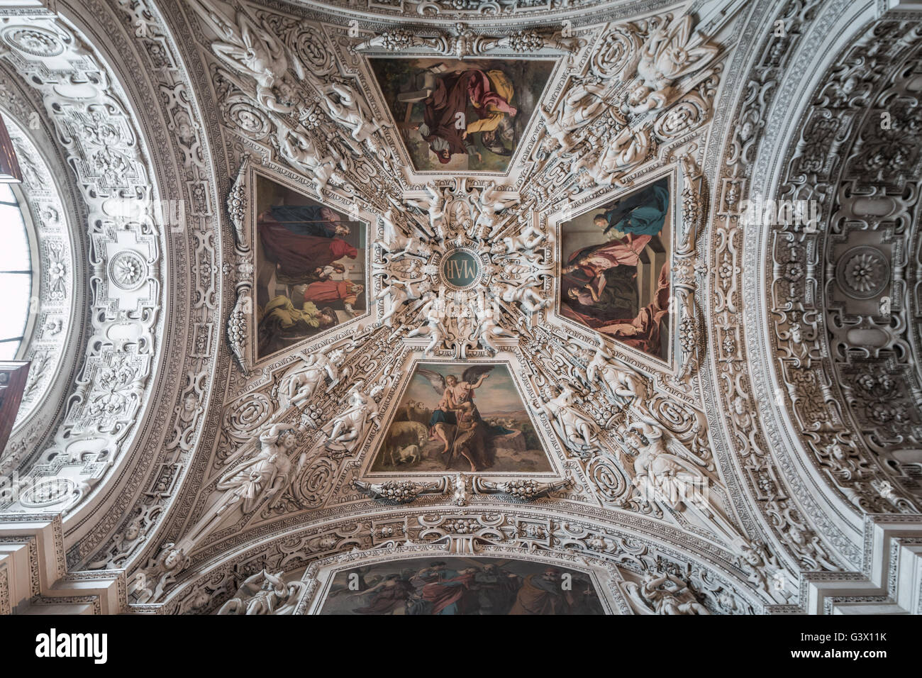 Ceiling of Salzburg Cathedral Stock Photo