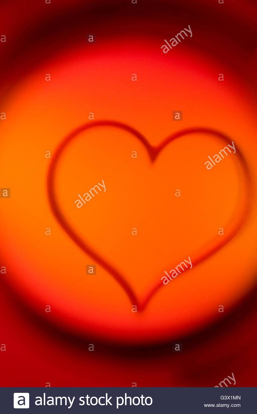 Heart in Cirlce of Light - Stock Image
