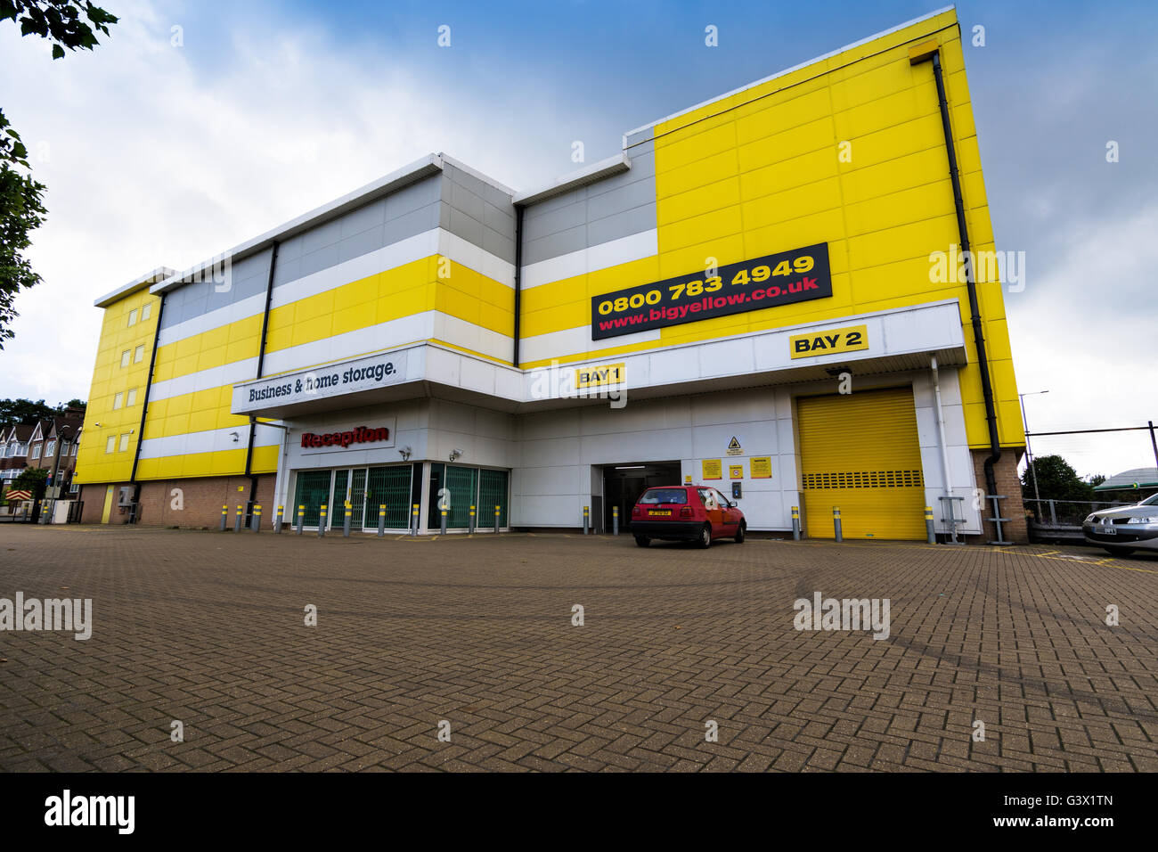 Shot of the front of a typical Big Yellow Storage facility. - Stock Image
