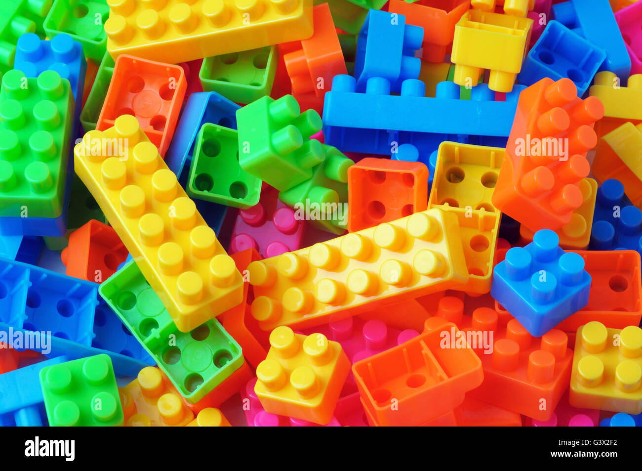 Full frame shot of colorful toy building - Stock Image