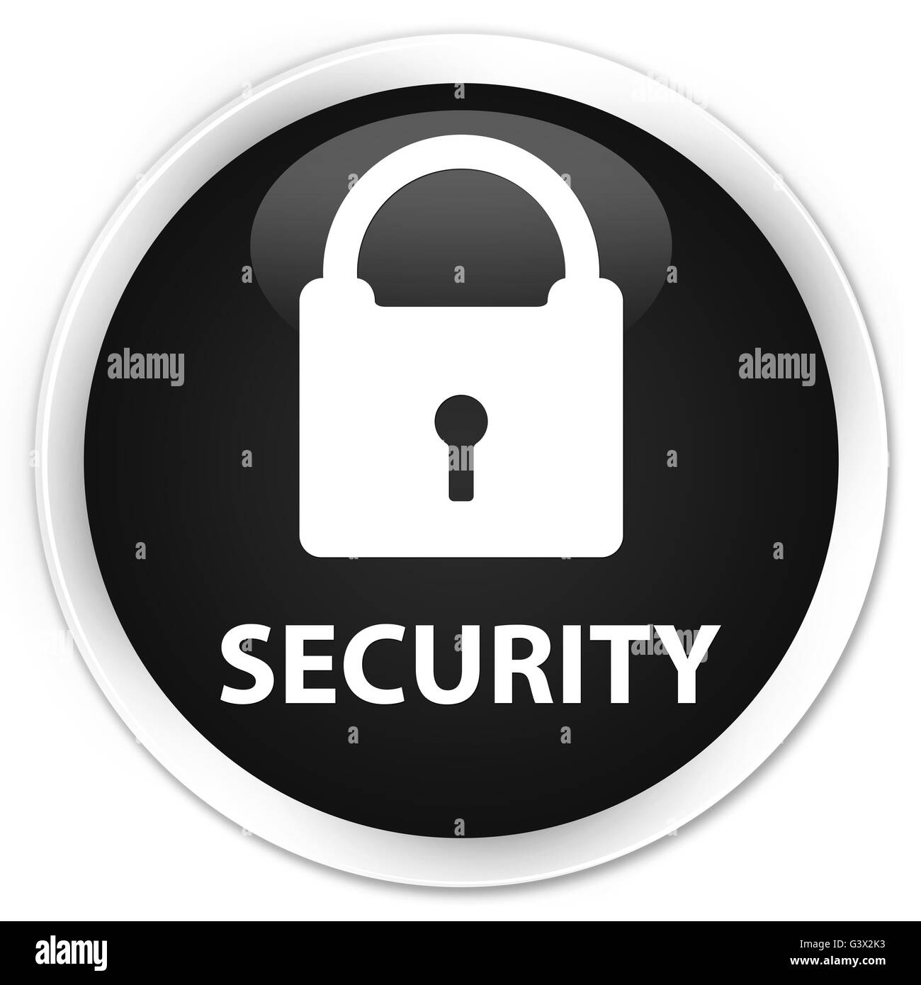 Security (padlock icon) isolated on premium black round button abstract illustration - Stock Image