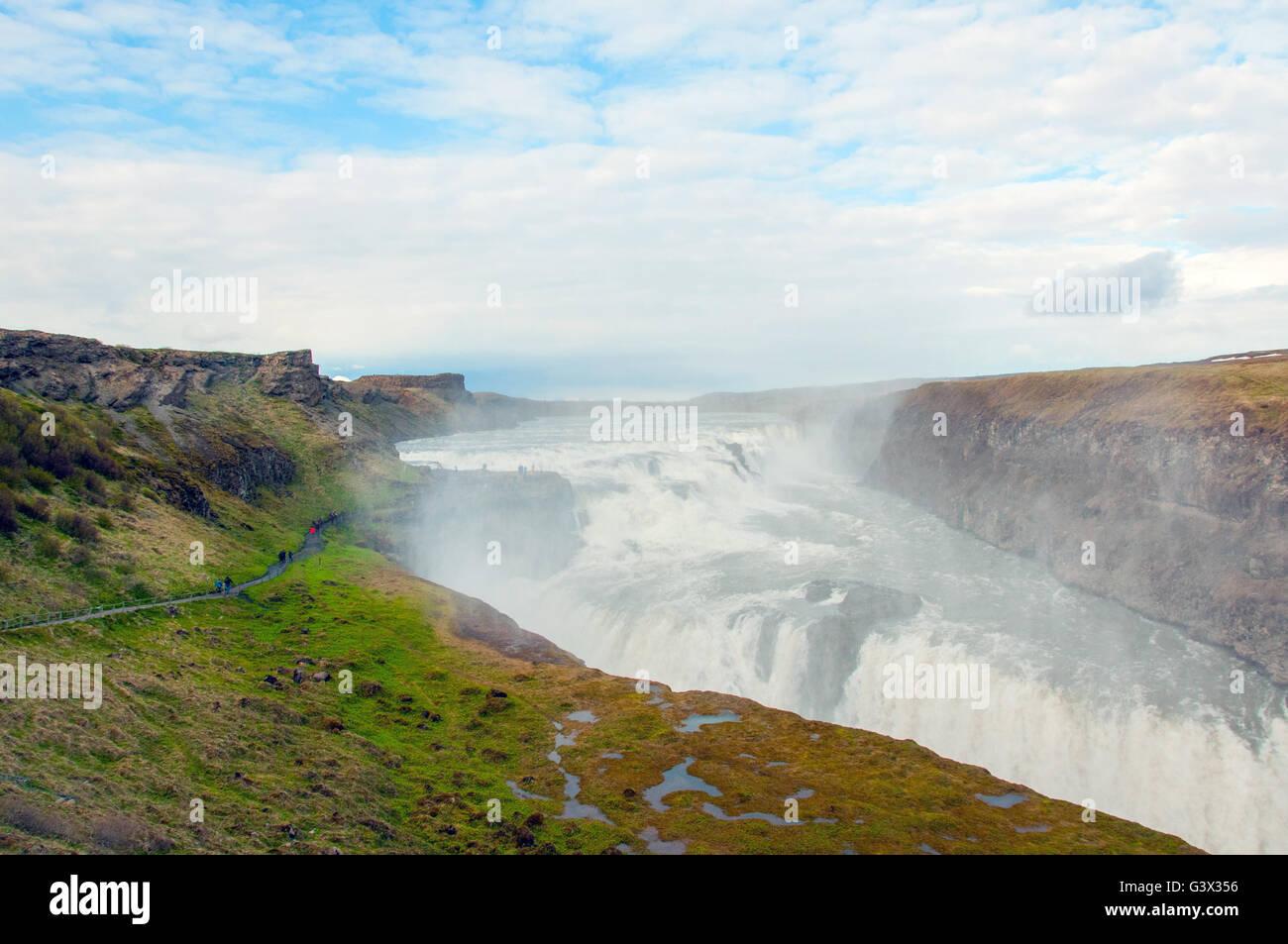 Gullfoss Hvítá waterfall Iceland - Stock Image