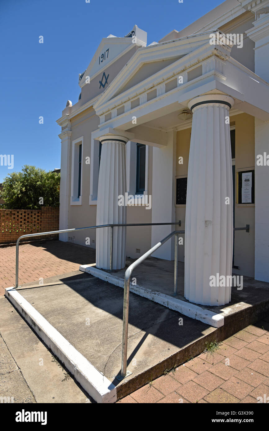 front facade of inverell masonic lodge no 48 in otho strett inverell new south wales australia - Stock Image