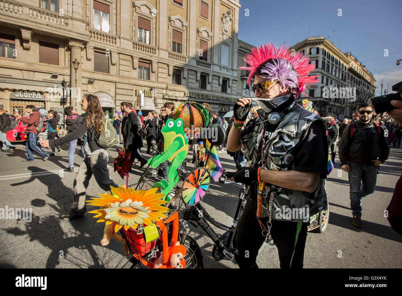 Gay delegation took part in the event 'No Salvini day' in Rome - Stock Image