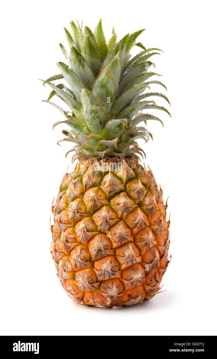 Ripe pineapple isolated on white - Stock Image