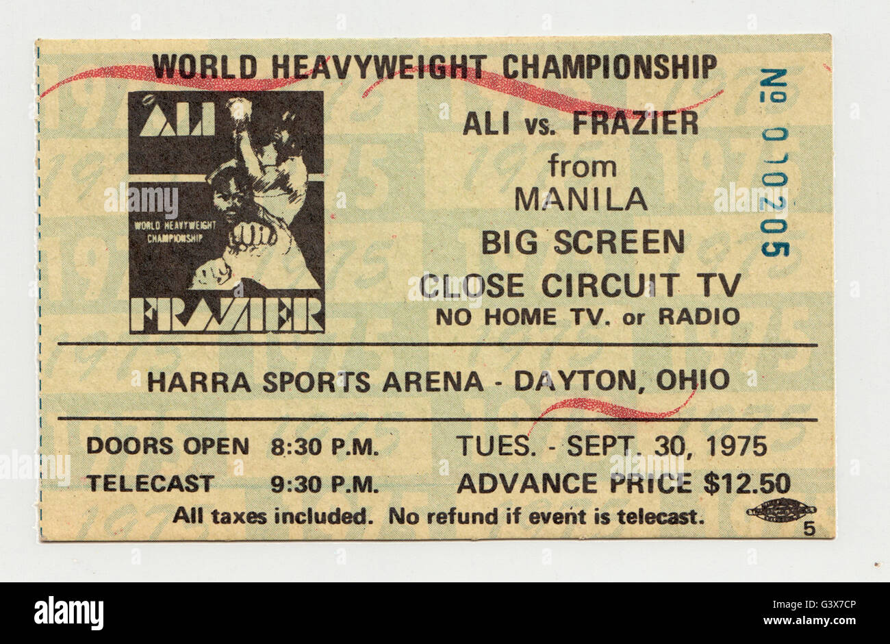 A 1975 ticket stub to a closed circuit TV viewing of the THRILLA IN MANILA boxing match between Muhammad Ali & - Stock Image