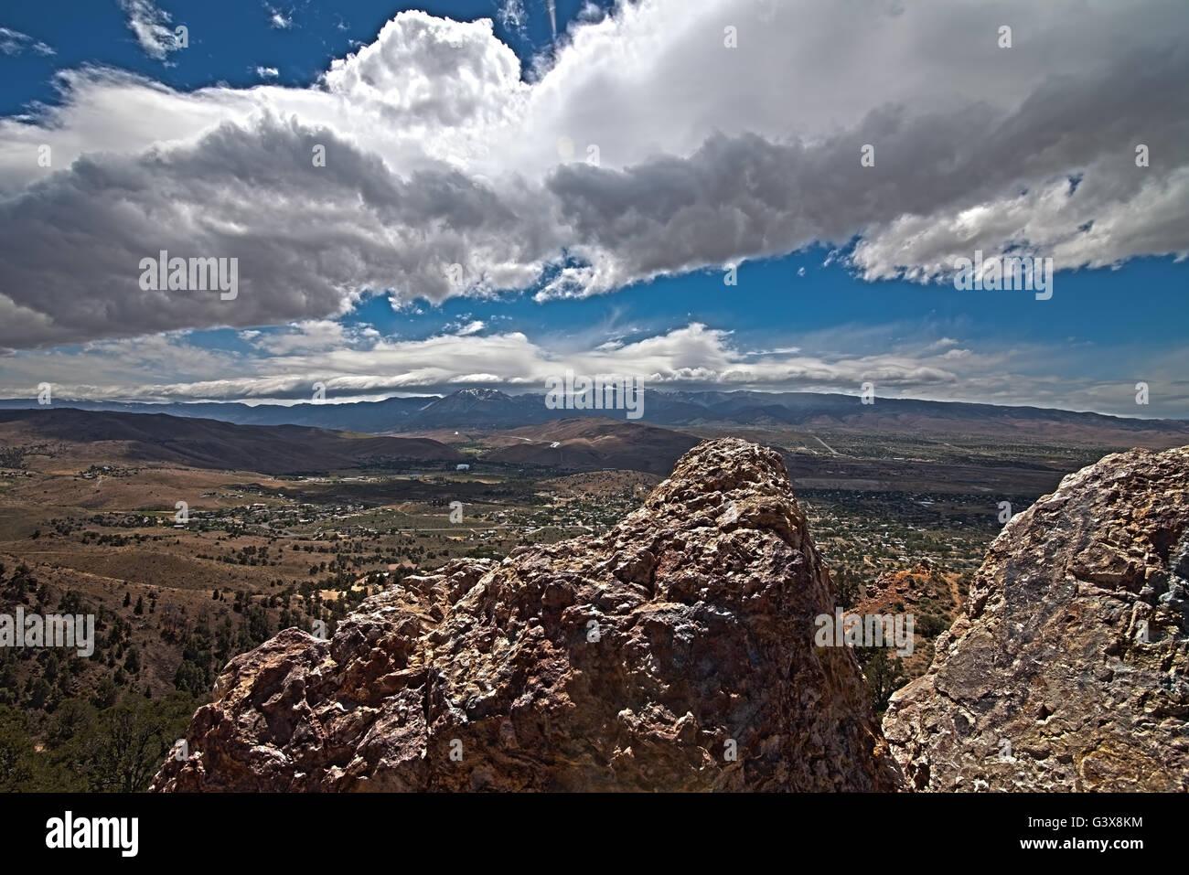 Cloudy blue skyline of Mt. Rose. Reno, Nevada Washoe Valley. Sierra mountain Stock Photo