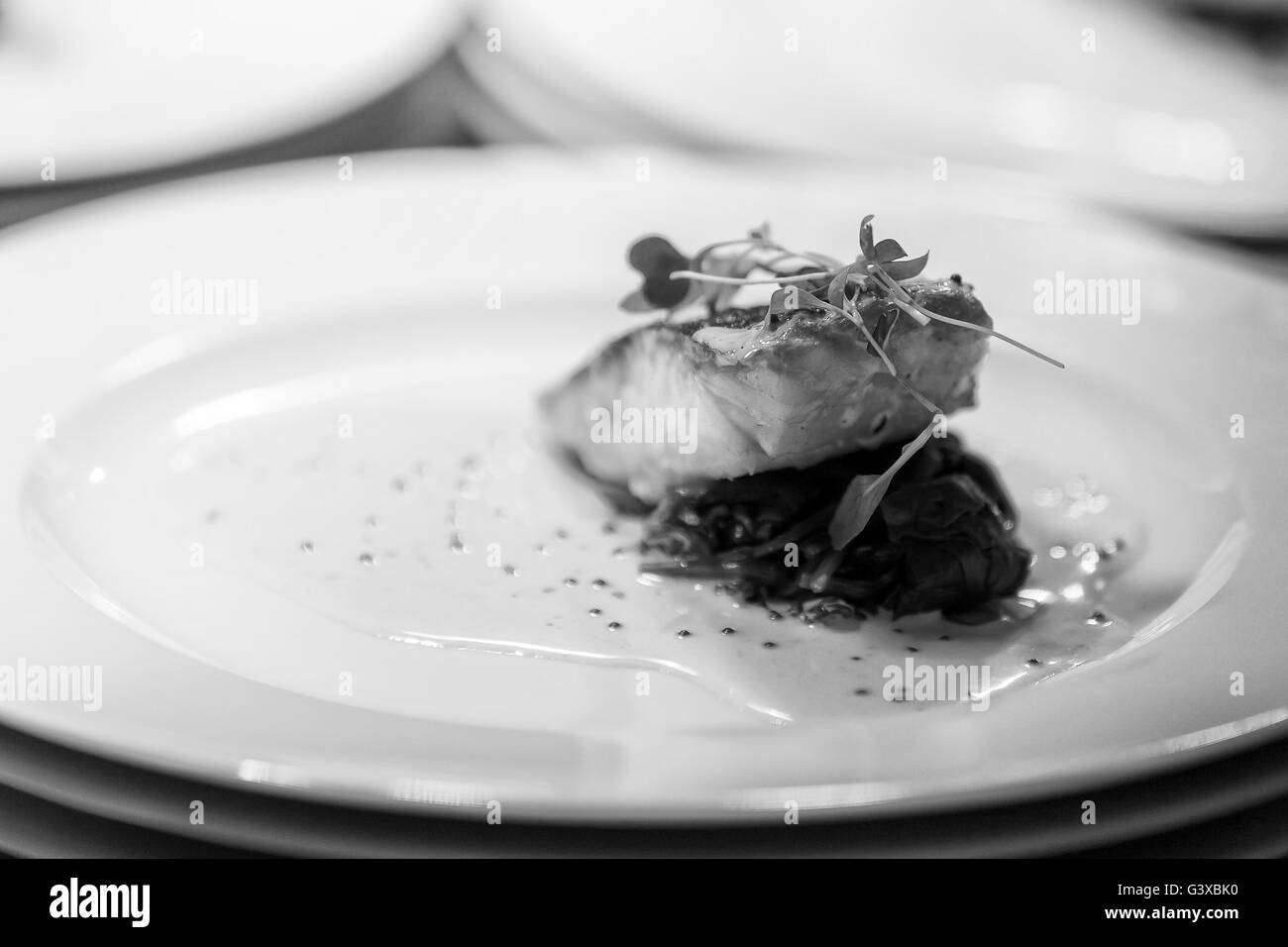 A chef prepared fish dish prepared for a wedding event. - Stock Image
