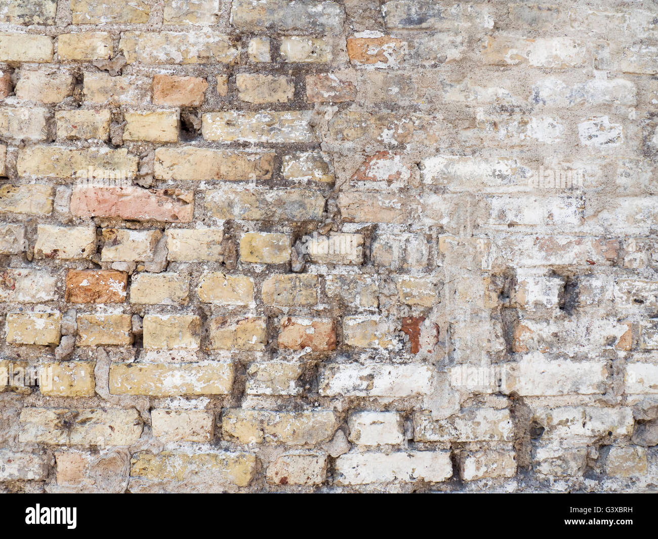 Old Damaged Rustic Brick Wall With Plaster Texture Background