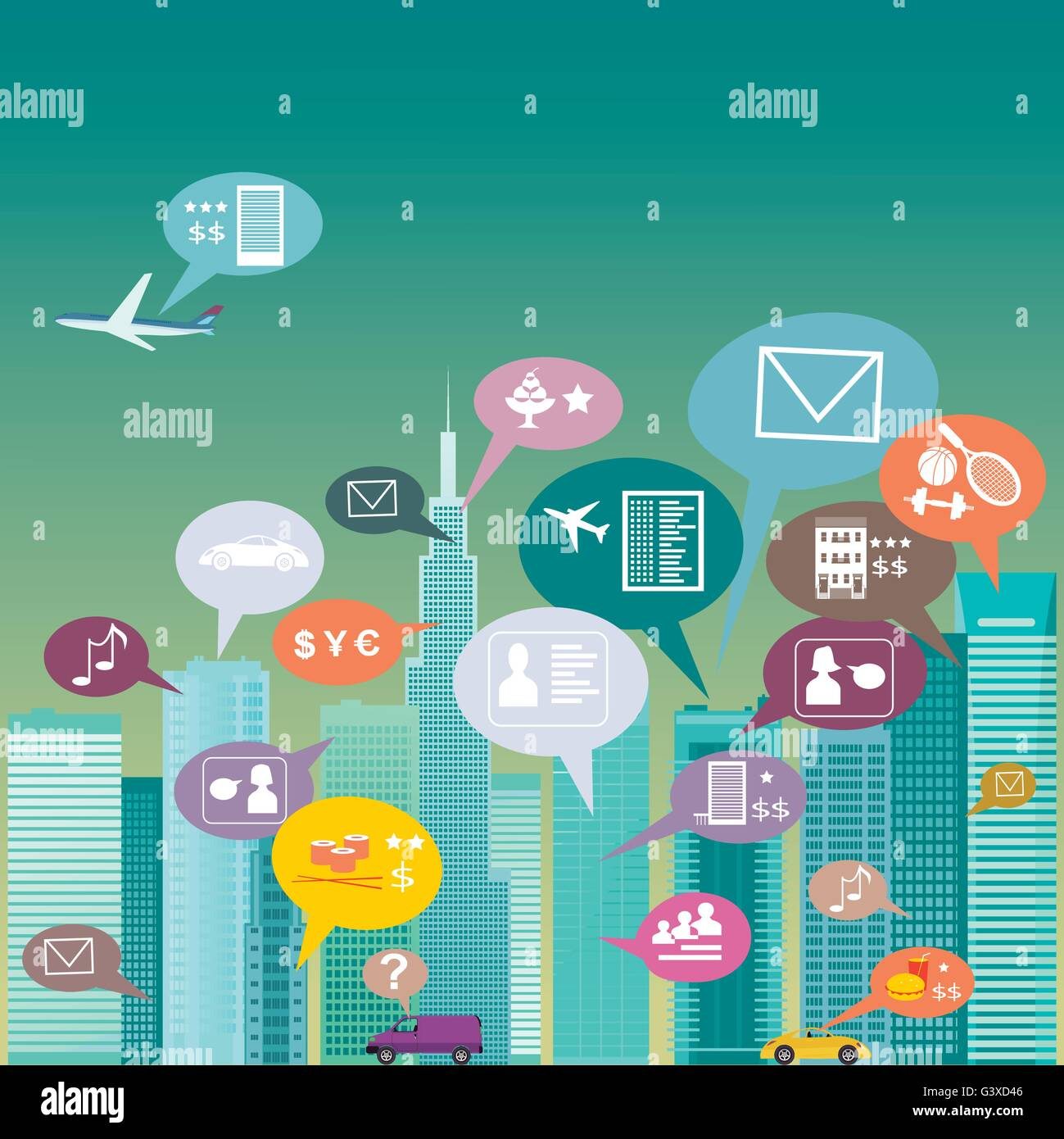 City social network. Urban landscape filled with social network icons, vector illustration - Stock Vector