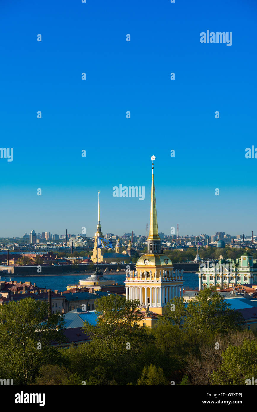 Admiralty Spire And St Petersburg Skyline - Stock Image