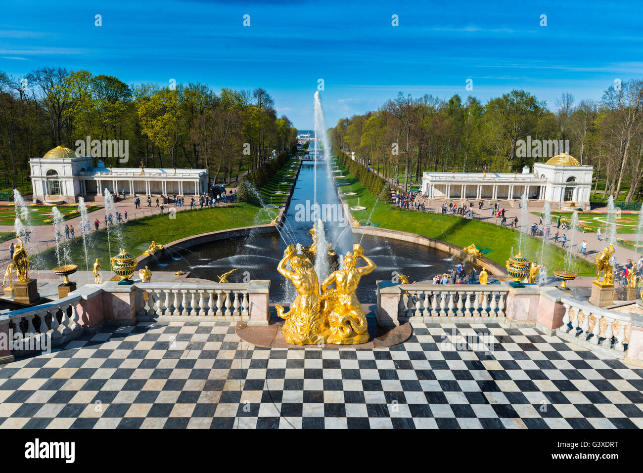 The Grand Cascade And Samson Fountain In Peterhof, Saint Petersburg - Stock Image