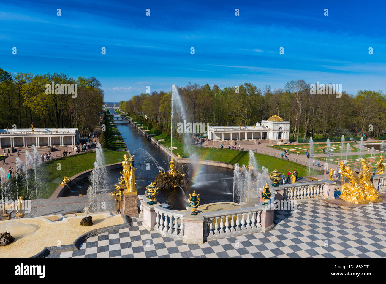 Samson Fountain And Sculptures of The Grand Cascade In Peterhof, Saint Petersburg - Stock Image