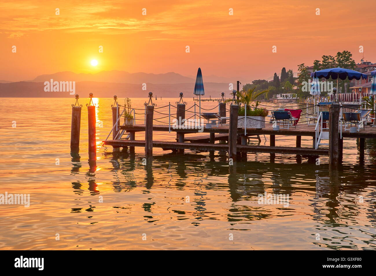 Sunset view at Garda Lake, Sirmione, Lombardy, Italy - Stock Image