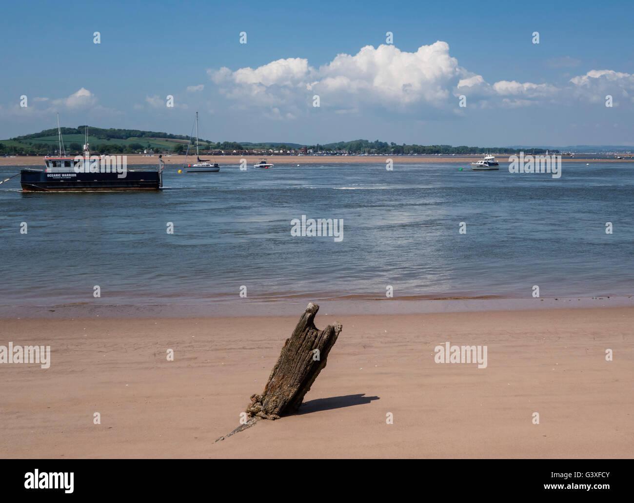 River Exe Estuary, Exmouth from Dawlish Warren, Devon, UK - Stock Image